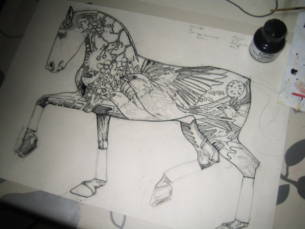 Screen print positive for one of helios horses