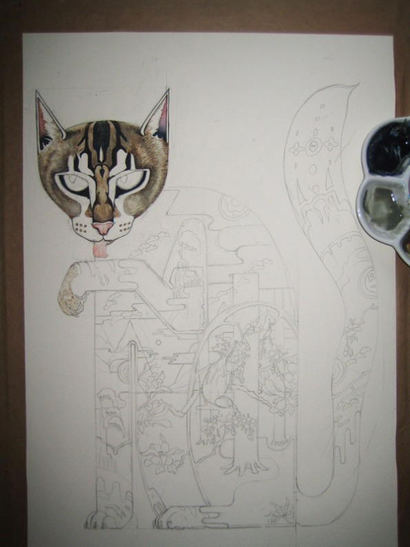 Cat, watercolour painting in progress