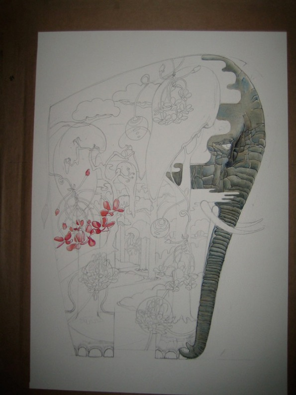 Watercolour of an elephant - painting in progress