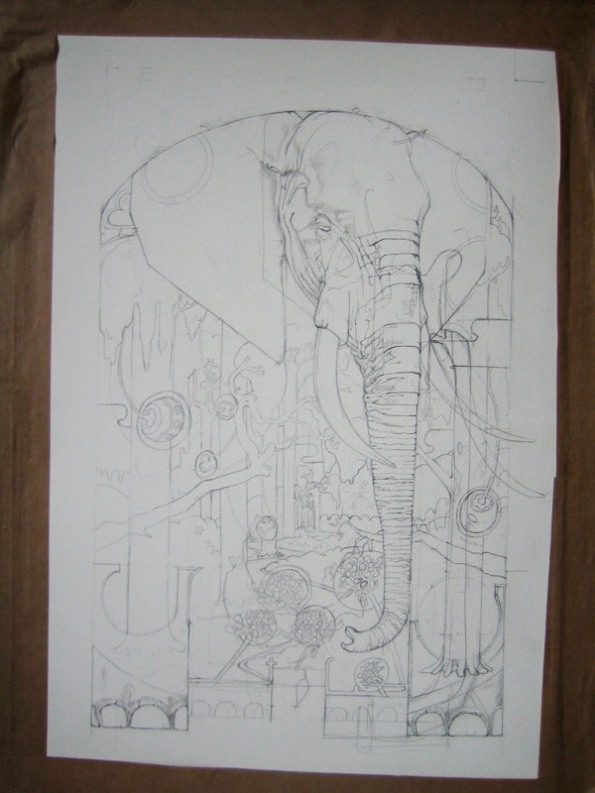 Drawing of a congo elephant