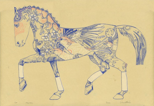 Helios horse pyrois - 3 colour screen print