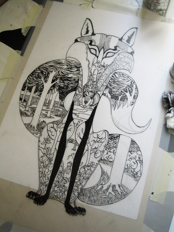 drawing of a fox