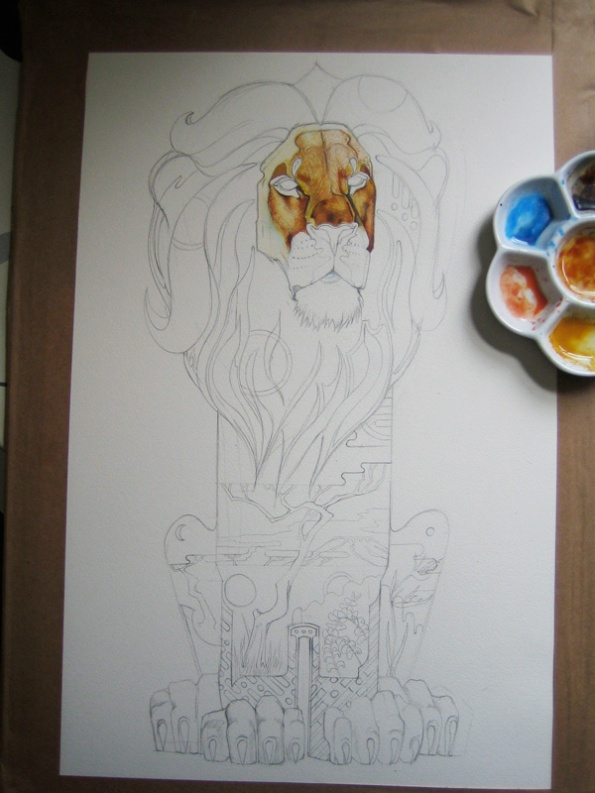 Lion painting in progress