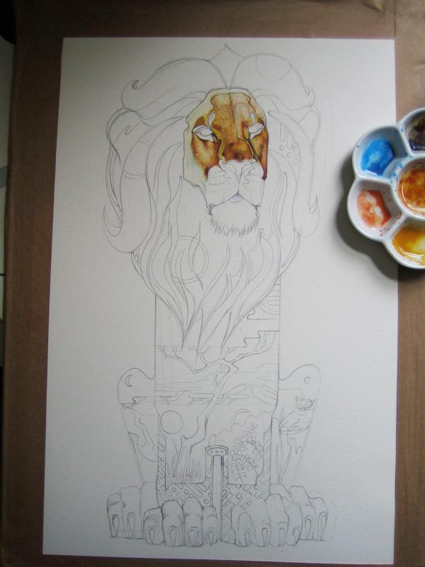 Lion painting in progress