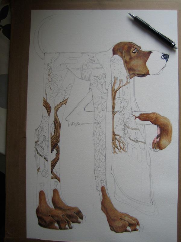 Watercolour of English Foxhound