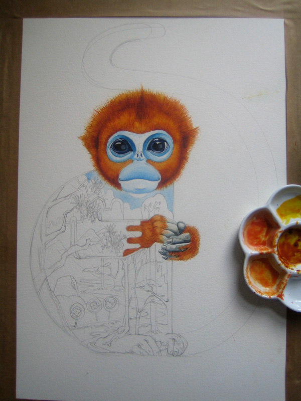 golden sub nosed monkey baby watercolour painting