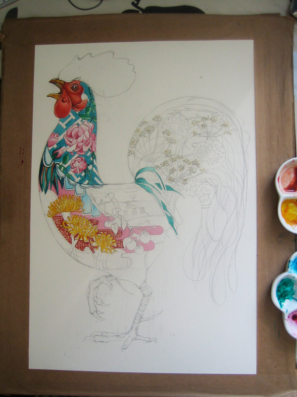 cockerel watercolour in progress