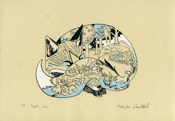 3 colour screen print of a sleeping fox