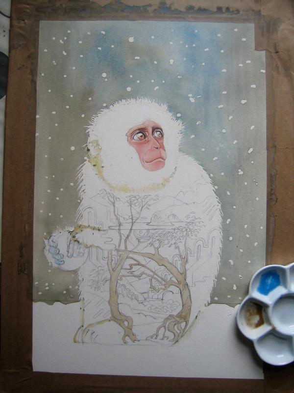 Snow Monkey watercolour painting in progress by Daniel Mackie