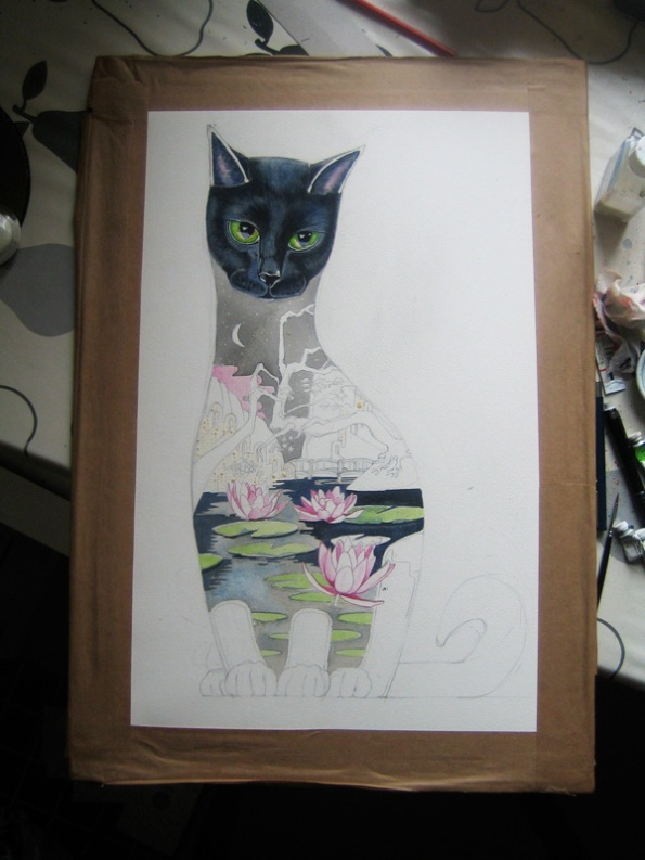 Watercolour of a black cat in progress