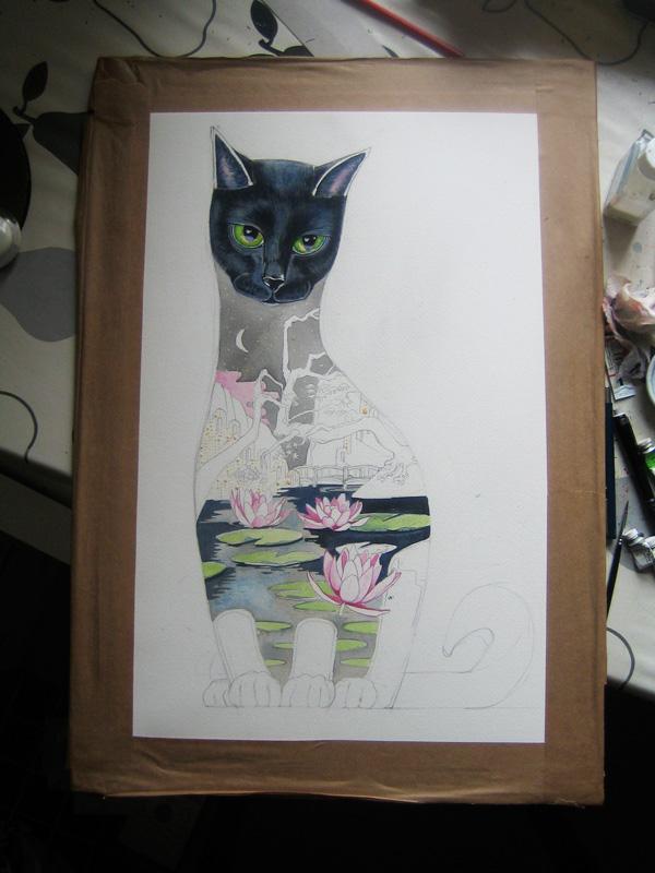 Watercolour of a black cat in progress