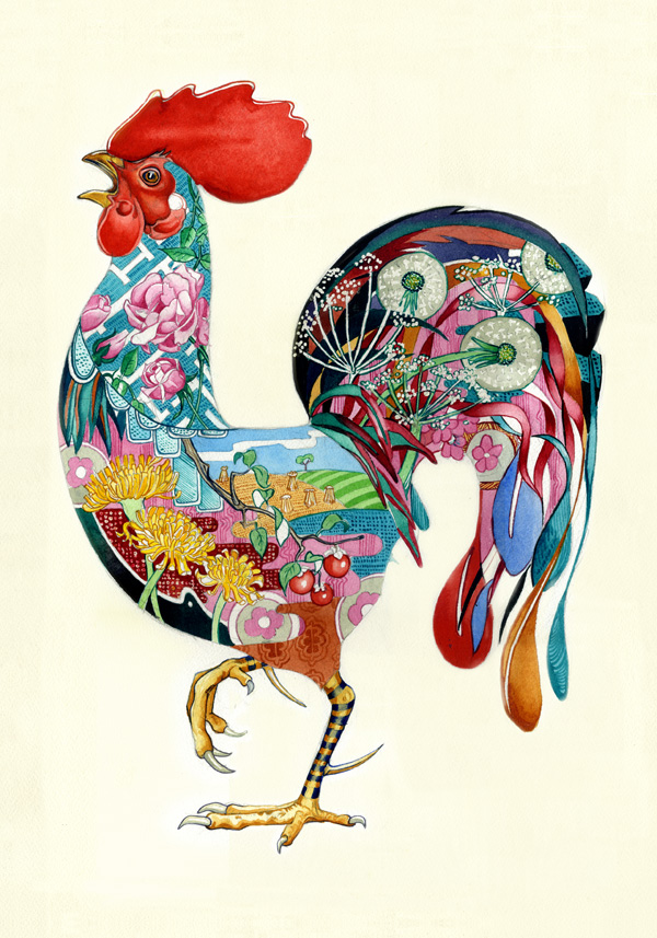 watercolour of a rooster or cockerel