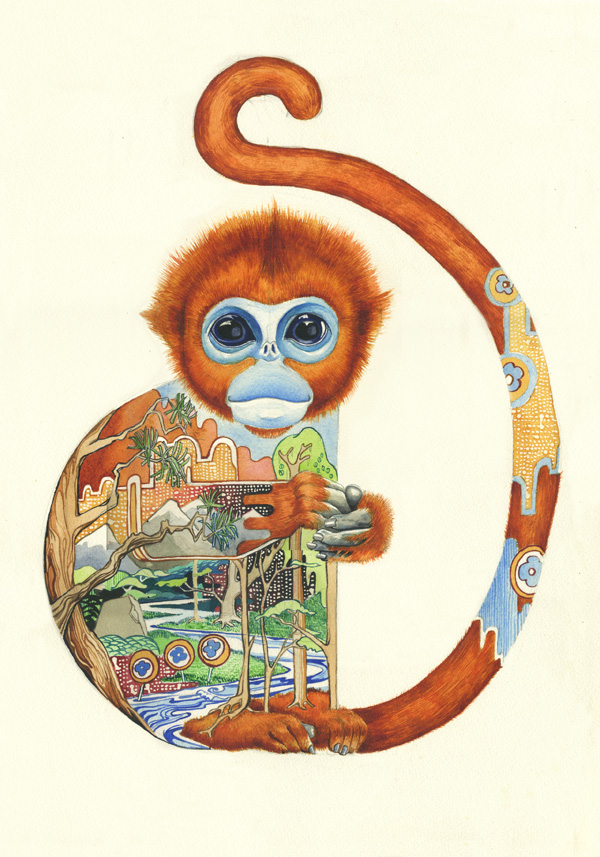 painting of a golden monkey
