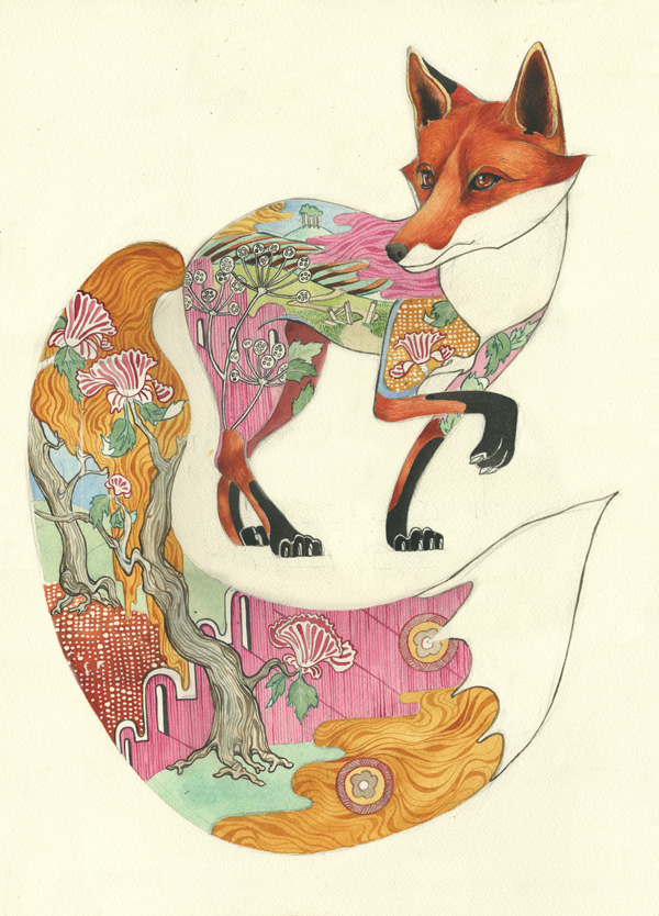 Watercolour of a red fox with pattern