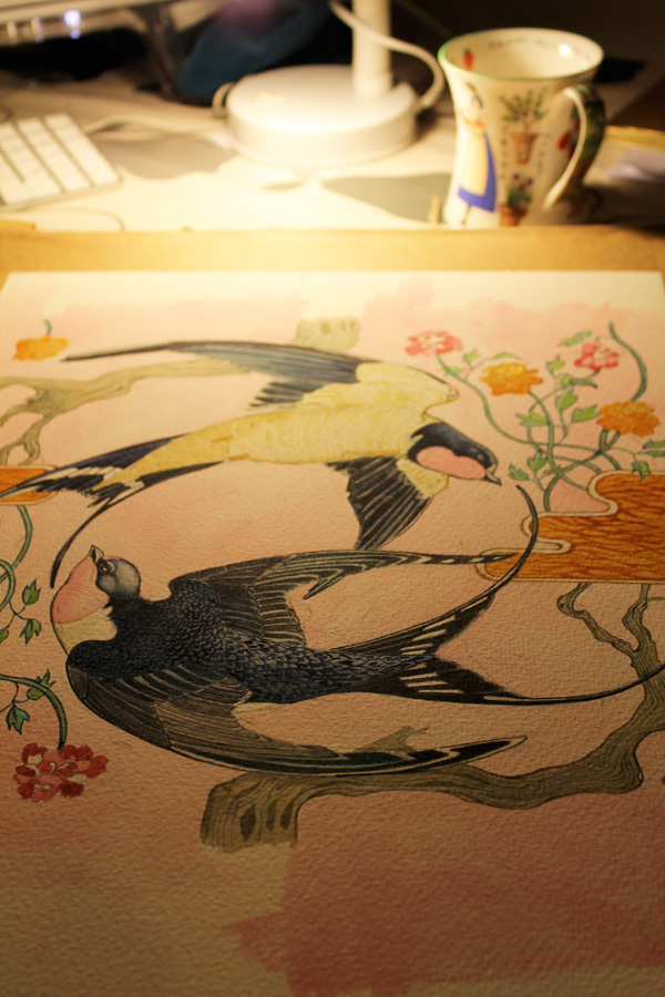 swallow painting in progress