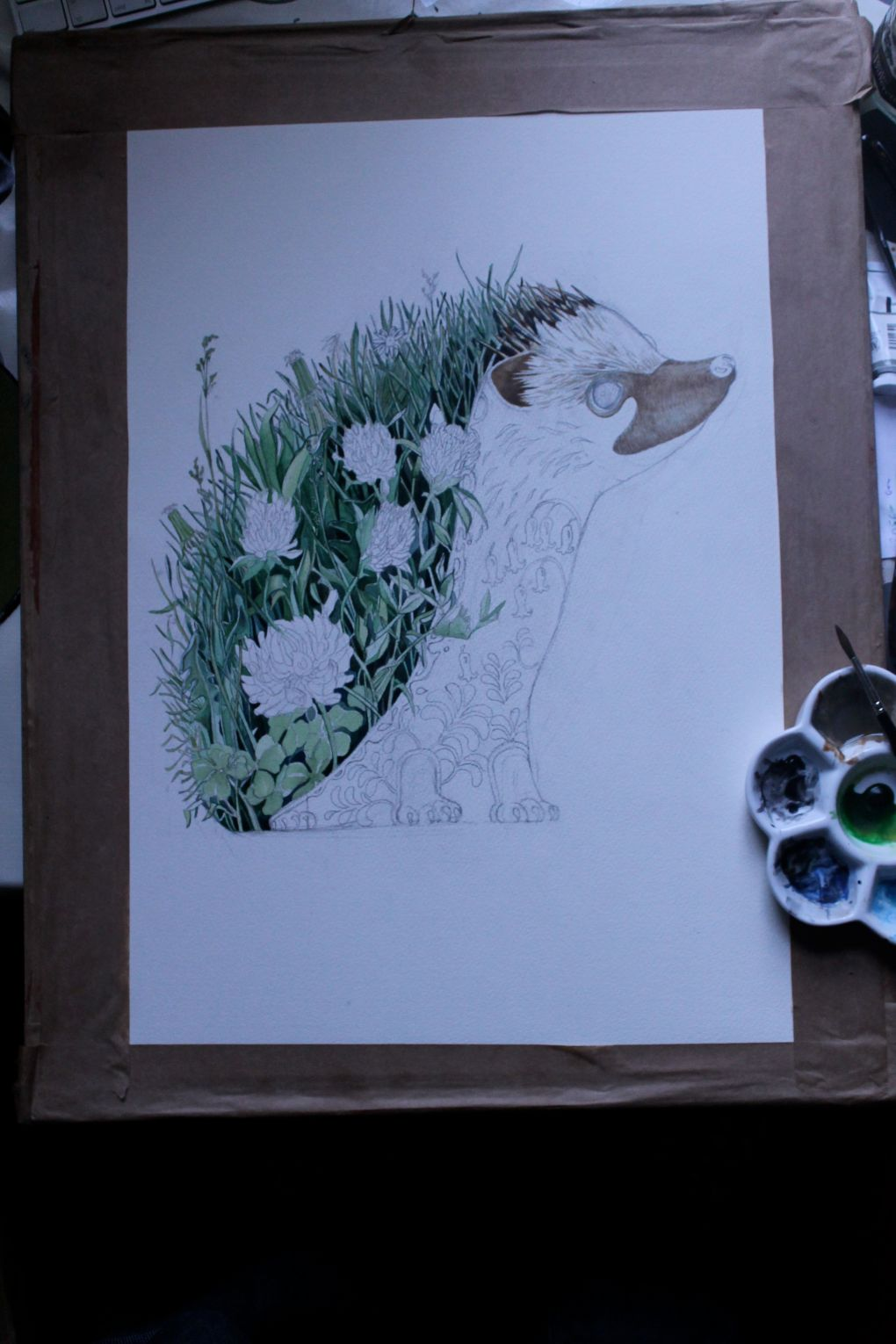 hedgehog paintiong in progress by Daniel Mackie