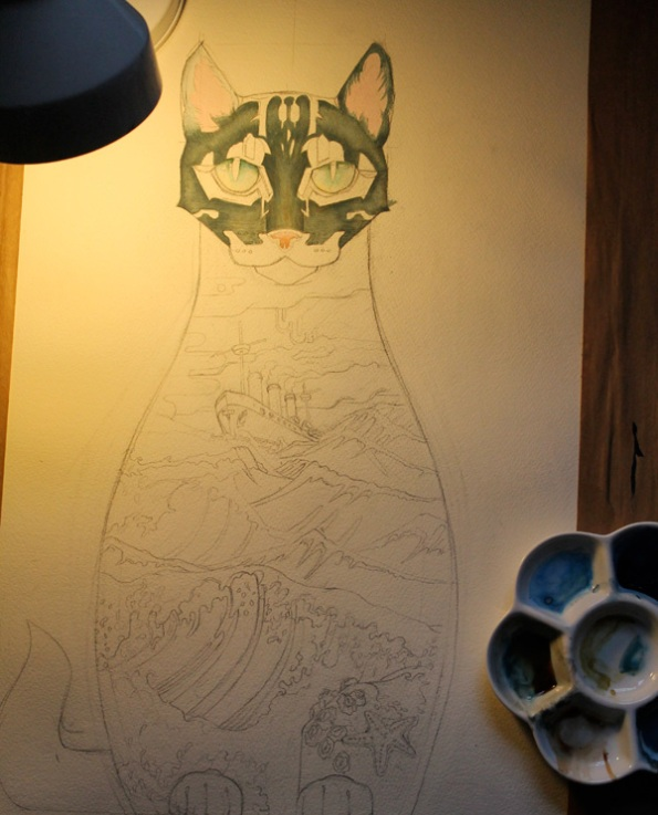 Ships cat painting in progress
