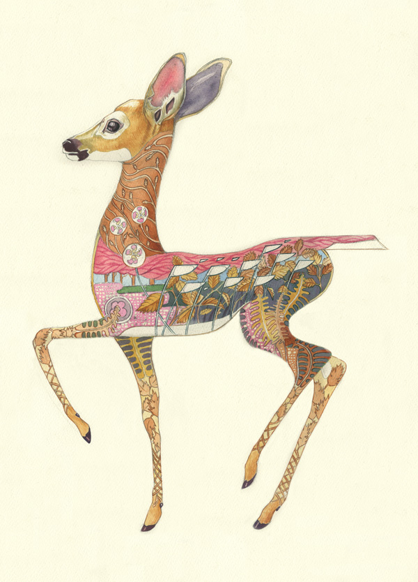 Fallow deer fawn watercolour painting by Daniel Mackie
