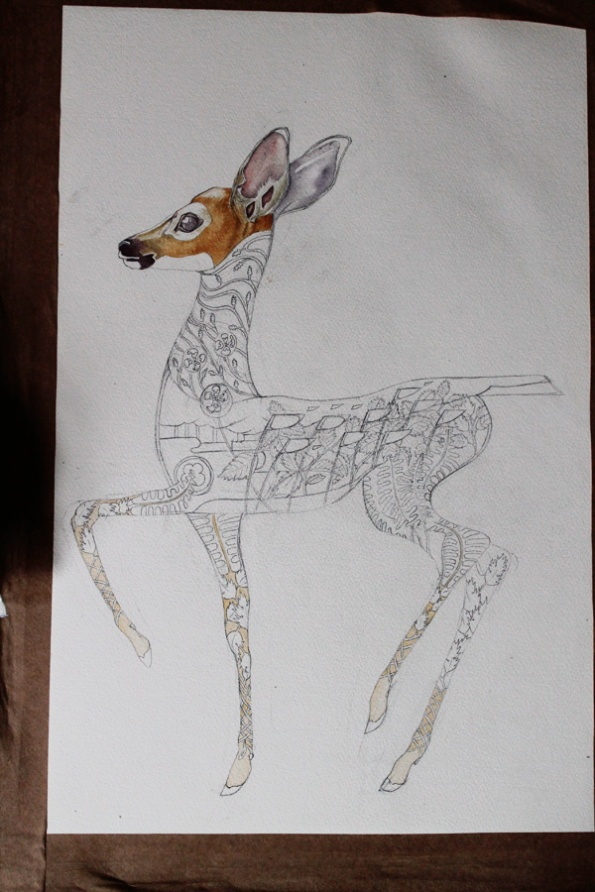 Fawn water colour in progress