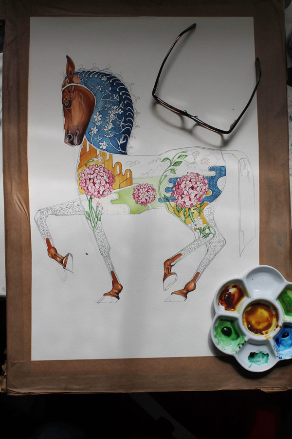 Horse painting by Danel Mackie in progress