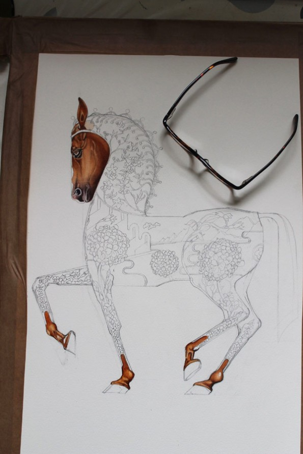 Horse painting on progress, the DM Collection