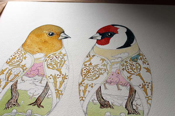 Goldfinches in water colour By Daniel Mackie