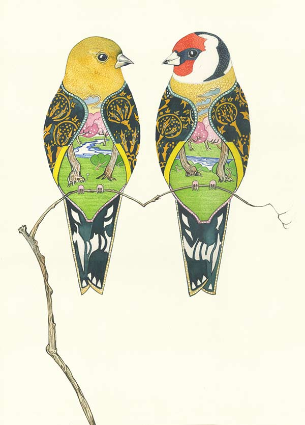 Goldfinches  by Daniel Mackie- Water colour artist
