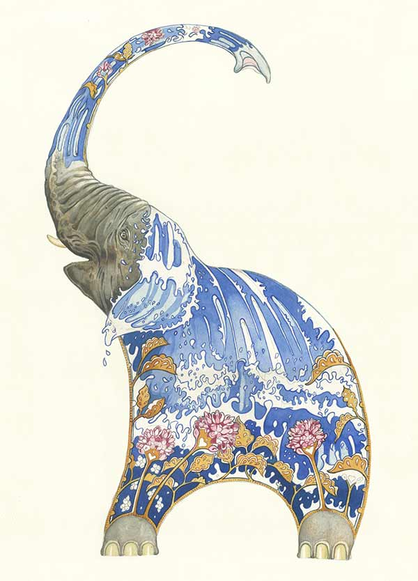 Elephnat squirting water by Daniel Mackie