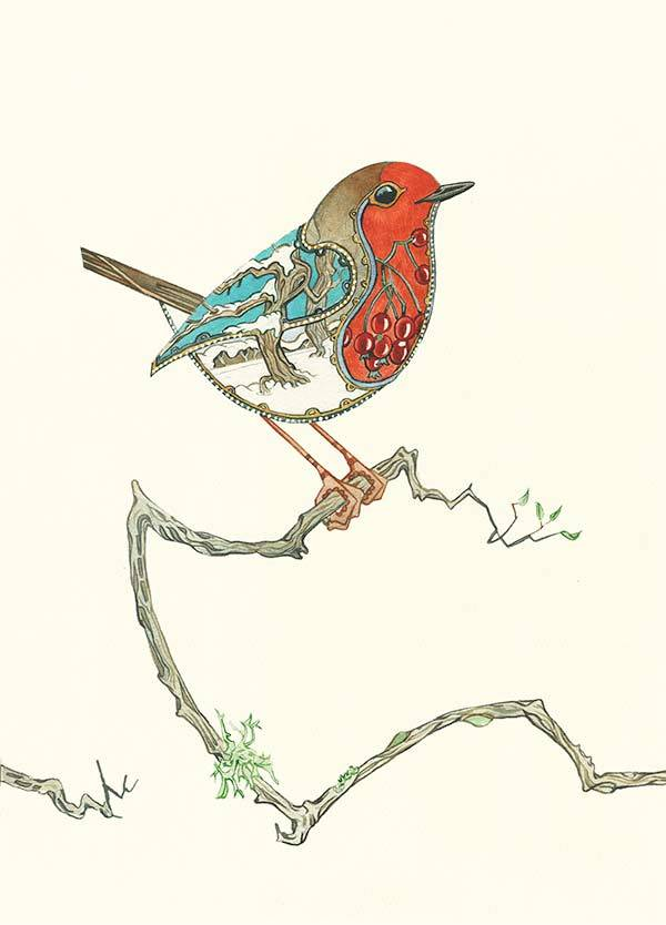 Robin greetings card bv Daniel Mackie