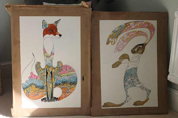 Fox and hare- two watercolour paintings, Daniel mackie