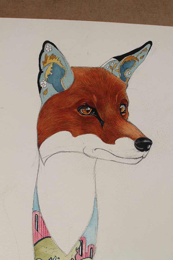 Fox detail - Watercolour Painting by Daniel Mackie