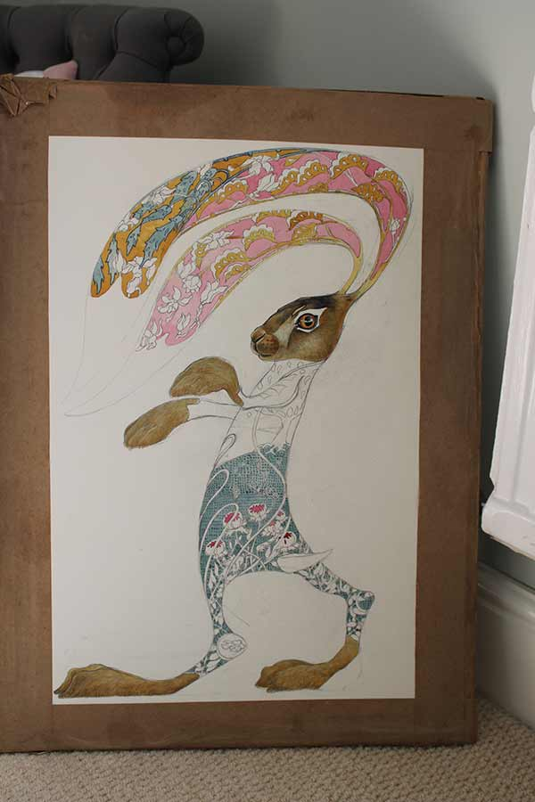 Hare boxing- watercolour in progress- Daniel Mackie