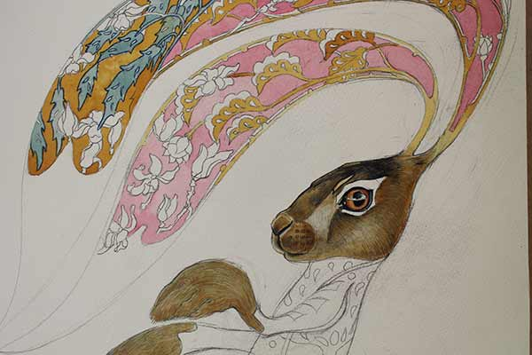 Hare watercolour painting in progress- Daniel Mackie