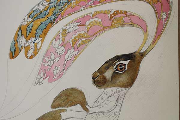 Hare watercolour painting in progress- Daniel Mackie